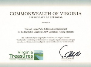 VA Treasures Certificate